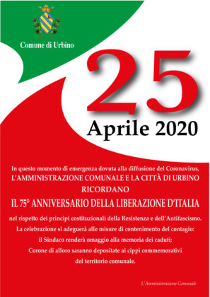 Urbino celebra il 25 aprile, l'invito del Sindaco: «Esponiamo il tricolore»